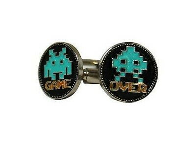 Game over boutons de manchettes gaming retro dans boite game over cufflinks