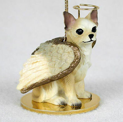 Chihuahua Dog Figurine Ornament Angel Statue Hand Painted Wht/Tan