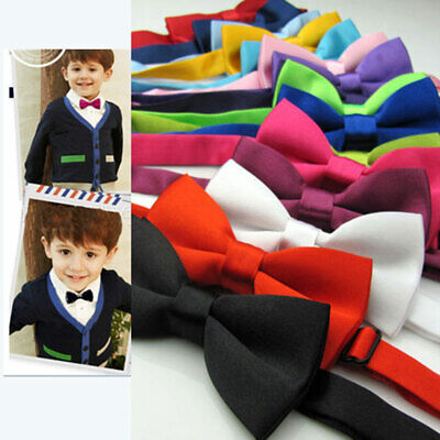 Children Kids Toddler Boys Girls Solid Colour Bowtie Pre Tied Bow Tie Necktie