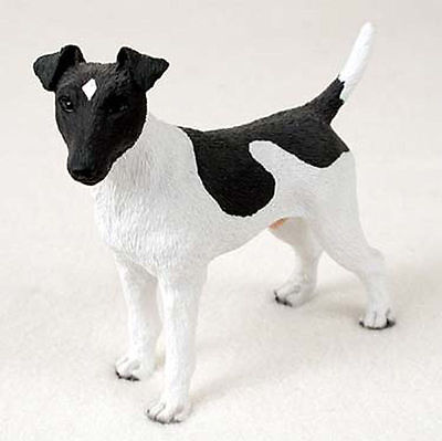 Fox Terrier Figurine Hand Painted Collectible Statue Black/White