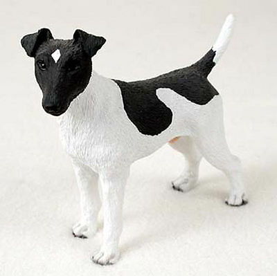Fox Terrier Hand Painted Collectible Dog Figurine Statue Black & White
