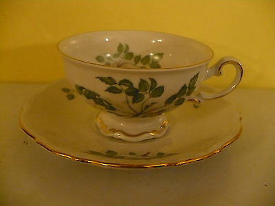 Mitterteich GREEN LEAVES Porcelain China Cup & Saucer Set #4254 EXC