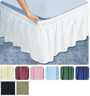 """Twin Full Size Wrap Around 14"""" Drop Bed Skirt Dust Ruffle Black"""