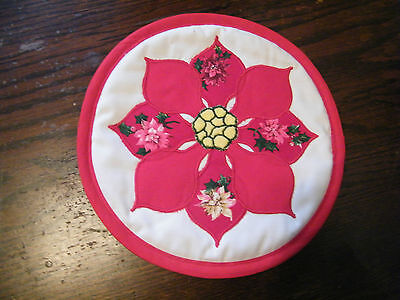 Collectible Handmade Pot Holder Appliqued Christmas Poinsetta Red White NICE