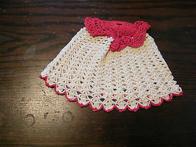 Collectible Handmade Crocheted Regular Size Toilet Tissue Cover Cream Red NICE