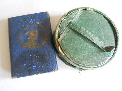 Antique Pre 1920's Needle cases Green and Blue as is some needles Germany