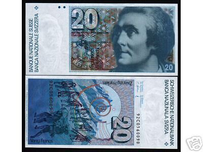 Switzerland 20 Francs P55 1992 Mountain Unc Swiss Currency Money Bill Bank Note