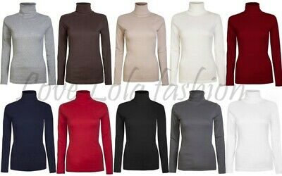 953f455529184c Womens Roll Necks Ladies Jumpers Plain Tops Winter Polo Neck Tops Size 10 -  18