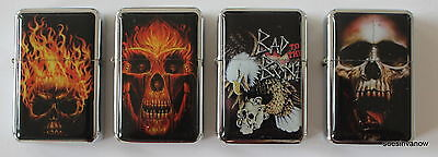 Lot of 4 Flip top refillable Oil Lighter Skulls Flames Motorcycle Style Eagle