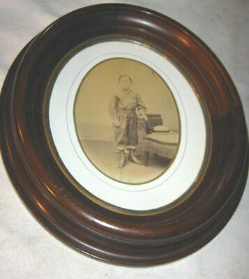 ANTIQUE PRIMITIVE WOOD WALL PICTURE FRAME VICTORIAN ART BOY CHILD PHOTO w BOOTS