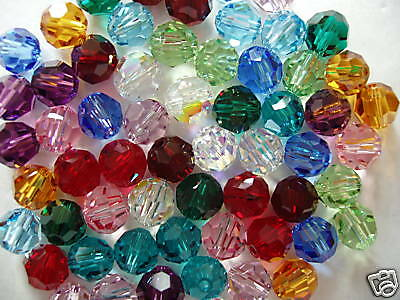 60 pc. BIRTHSTONE MIX SWAROVSKI CRYSTAL 6mm ROUND Loose BEADS #5000, 12 colors