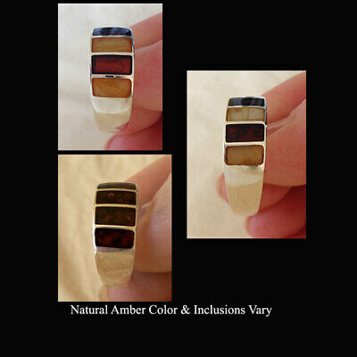 Baltic Inlaid Amber & Sterling Silver Handmade Unisex Ring Band
