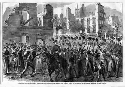 Negroes Colored Regiment Soldiers Singing John Brown's March In Streets, Negroes