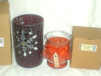 FALLING SNOW Mosaic Hurricane & Pumpkin Pie 3 Wick CANDLE Longaberger Christmas