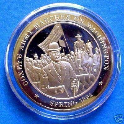 1894 Coxey's Army Marches On Washington - Franklin Mint Solid Bronze Medal