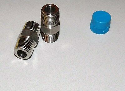 "LOT OF 2 NEW SWAGELOK STAINLESS STEEL 3/8"" MALE X 3/8"" MALE CONNECTOR ADAPTERS"