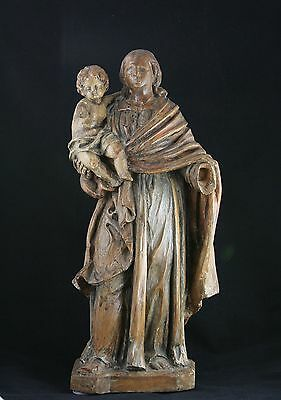 antique 18th C. wooden statue Virgin and Child, Madonna Holy Mary Jesus, 54cm