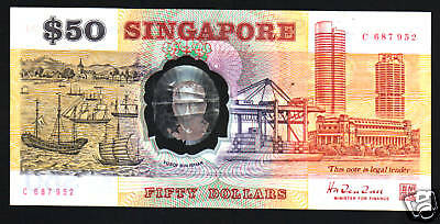 SINGAPORE 50 DOLLARS P31 1990 1st COMMEMORATIVE POLYMER CURRENCY MONEY BANK NOTE