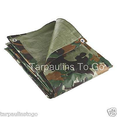Camouflage Tarpaulin Waterproof Camping Ground Sheet Cover Woodland Tarp