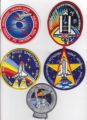 5 - LARGE / SMALL  UNUSED VINTAGE EMBROIDED SPACE SHUTTLE  PATCHES    lot #6