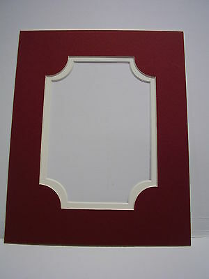 Picture Frame Classic Design Double Mat 8x10 for 5x7 photo Brick Red Ivory liner