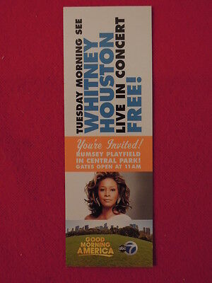 2009 Whitney Houston New York Central Park Concert Ticket Rumsey Playfield