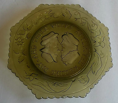 Antique Embossed Wedding Day flip Topsy Turvy Glass Plate  after 3 weeks
