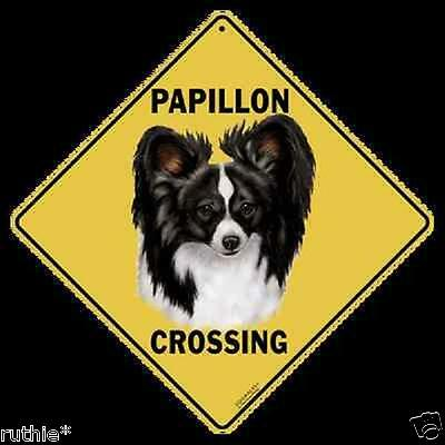 "Papillon Dog Metal Crossing Sign 16 1/2"" x 16 1/2"" Diamond shape"