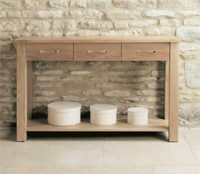 Fusion Solid Oak Wooden Furniture 3 Drawer Hallway Side Console Table with Shelf