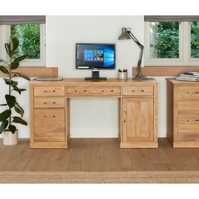 Fusion Solid Oak Wooden Furniture Computer Desk & Small Filing Cabinet Package