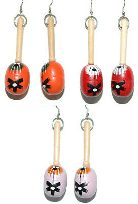 Colorful Wooden Maracas Dangle Earrings Cinco De Mayo ~ 3 Colors ~ U Pick
