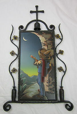 California tile mexican moonlight senor in spanish wrought iron frame