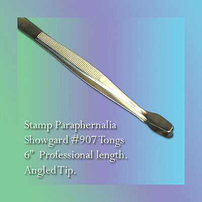"Showgard Stamp Tongs 6"" Angled Tip (#907)"