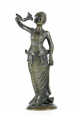 antique 19th C Burmese bronze of an elegant Lady of Burma with exquisite details