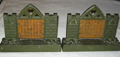 Antique Cast Iron Architectural Gate Bell Statue Bookends Arts Crafts Doorstop