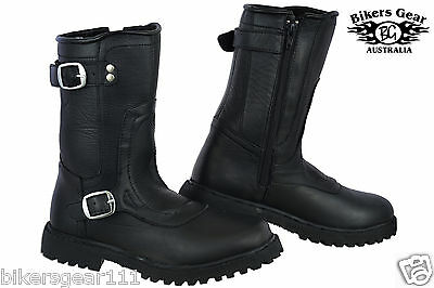 NEW MENS ENGINEER 2 BUCKLE ZIP UP SIDE A GRADE LEATHER MOTORCYCLE BOOTS all size
