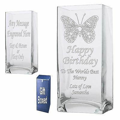 Engraved 22cm Rectangle Vase Nanny Mom Grandma Nan Birthday Gift Present