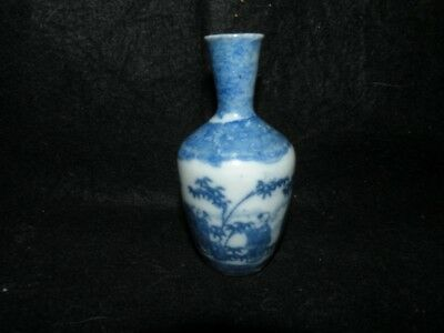 """Antique Dollhouse Miniature Blue & White Chinese Export Vase 3 3/4"""" Tall"""