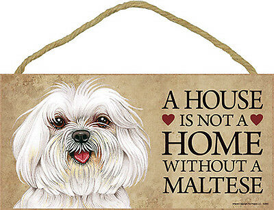 Maltese Wood Dog Sign Wall Plaque Photo Display Puppy Cut A House Is Not A + ...