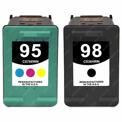 2pk Remanufactured Ink Cartridges for HP 95/98 OfficeJet 6310v Printer (1b+1c)