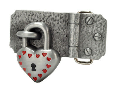 Heart Padlock on Hinge Belt Buckle Painted Brushed Metal Love Cool Unique New