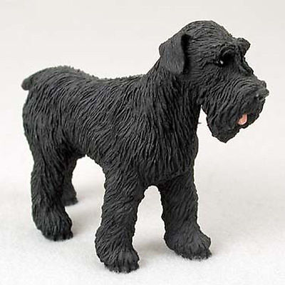 Schnauzer Figurine Hand Painted Statue Black Uncropped