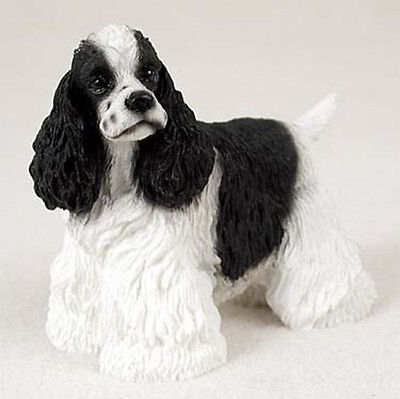 Cocker Spaniel Figurine Hand Painted Collectible Statue Black & White