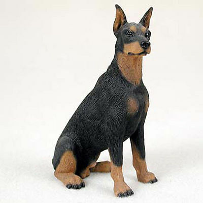 Doberman Pinscher Figurine Hand Painted Statue Black