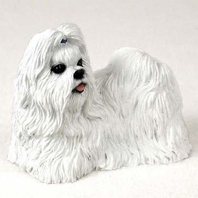 Shih Tzu Hand Painted Dog Figurine Statue White