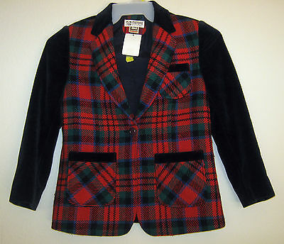MYMI FASHION Vtg Navy Plaid Mod Velour Dress Jacket Blazer Coat Outwear Girl 13