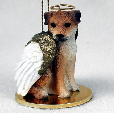 Border Terrier Ornament Angel Figurine Hand Painted