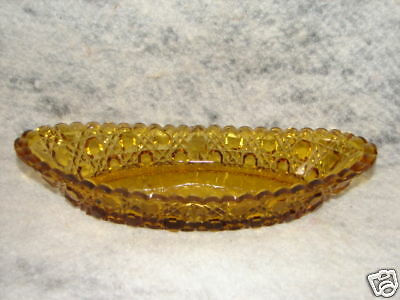 Antique Early American Pressed Glass Amber Bowl