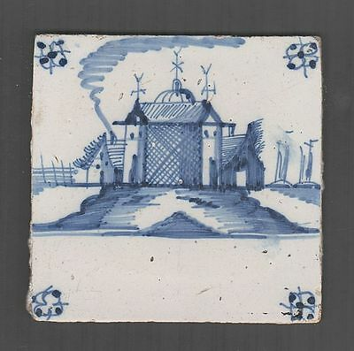 antique 18th C. Delft blue Tile, with a Castle and Sailing ships, handpainted