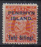 STAMPS NEW ZEALAND Opt. PENRHYN ISLANDS 1914 KING EDWARD VII  1/- (MLH) lot 805